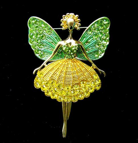 Lovey FAIRY Princess Green WINGS Rhinestone Retro Necklace Pendant Brooch yellow