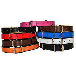 REAL-LEATHER-TOP-amp-BOTTOM-DOG-PUPPY-COLLAR-PADDED-Handmade-HIGHT-QUALITY