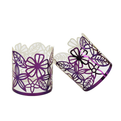 50xPaper Lampshade Light Candle Holders Tea Light Votive Dinner Décor Purple