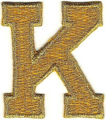 4.8cm Lange Metallisch Glänzendes Gold Monogramm Block Letter K Stickerei Patch
