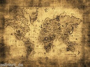Image Is Loading Time 4 Picture Antique Old World Map Card
