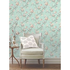 Chinoiserie bird wallpaper teal fd40768 floral feature wall decor new ebay - Pheasant wallpaper for walls ...