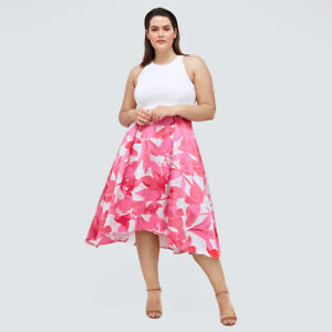 COAST SAMANTHA DRESS PINK IVORY FLORAL HIGH LOW FIT FLARE OCCASSION DRESS SIZE 8