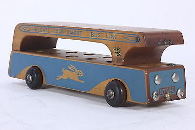Holgate Jack Rabbit Bus Line Wooden Vintage Rolling Pull-Toy 1938-1945 Logo