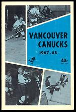 1967 68 VANCOUVER CANUCKS HOCKEY WHL PROGRAM VS SEATTLE TOTEMS WIT TONY ESPOSITO