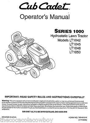 Array - cub cadet models lt1042 lt1045 lt1046 and lt1050 owners operators manual   ebay  rh   ebay com