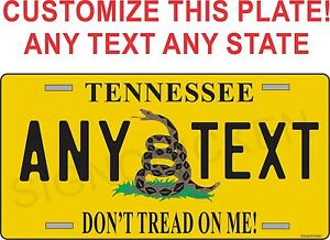 FLAG-METAL-LICENSE-PLATE-DONT-TREAD-ON-ME-customized-with-any-state-any-text