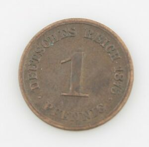 1875-Allemand-1-Pfennigs-Minted-en-Darmstadt-Better-Date-Tres-Fin-km-1