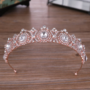 WEDDING BRIDAL OR RACING STUNNING ROSE GOLD CROWN//TIARA WITH CLEAR CRYSTALS