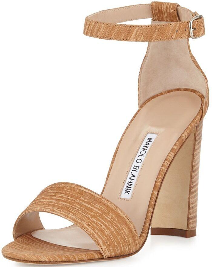 $745 NEW Manolo Blahnik Lauratopri 105 Sandals dorsay Suede Beige schuhes 40.5