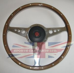 """New 15/"""" Laminated Riveted Wood Steering Wheel and Adaptor for MGB 1963-1967"""