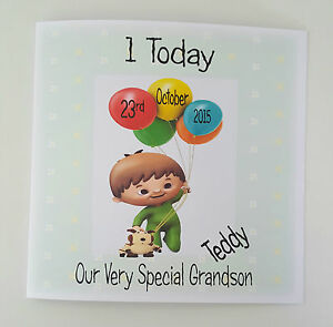 Image Is Loading Large Personalised Cuddlies Baby TV 1st Birthday Card