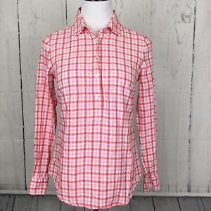 Vineyard-Vines-4-Top-Pink-Multi-Gingham-Pullover-Roll-Tab-Sleeves-Linen-Blend