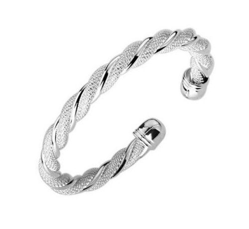 Twisted lujo pulseras Edel pulsera regalo señora 925 plata chapados Ø 60mm