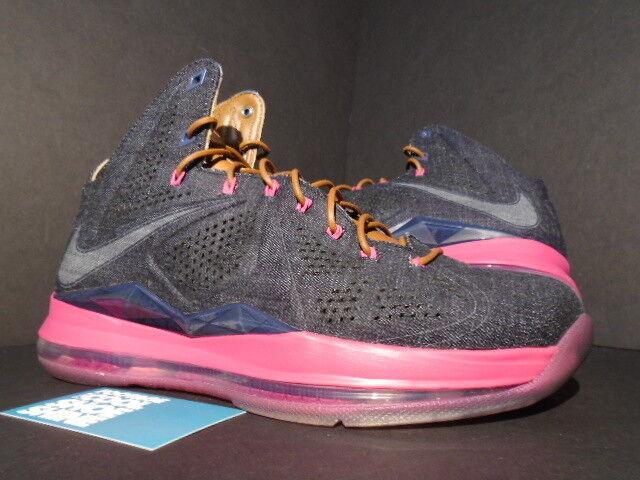 2013 Nike Air Max LEBRON X 10 EXT DENIM FIREBERRY QS NAVY BLUE HAZELNUT FIREBERRY DENIM rose 8.5 Chaussures de sport pour hommes et femmes e5b765