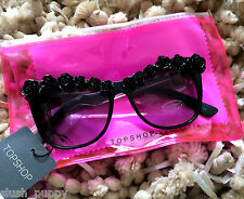 TOPSHOP 3D Flower Brow Cateye Sunglasses new Summer holiday black