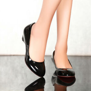 Women-039-s-Bright-Synthetic-Leather-Low-wedge-high-Heel-Round-Toe-Pumps-Shoes