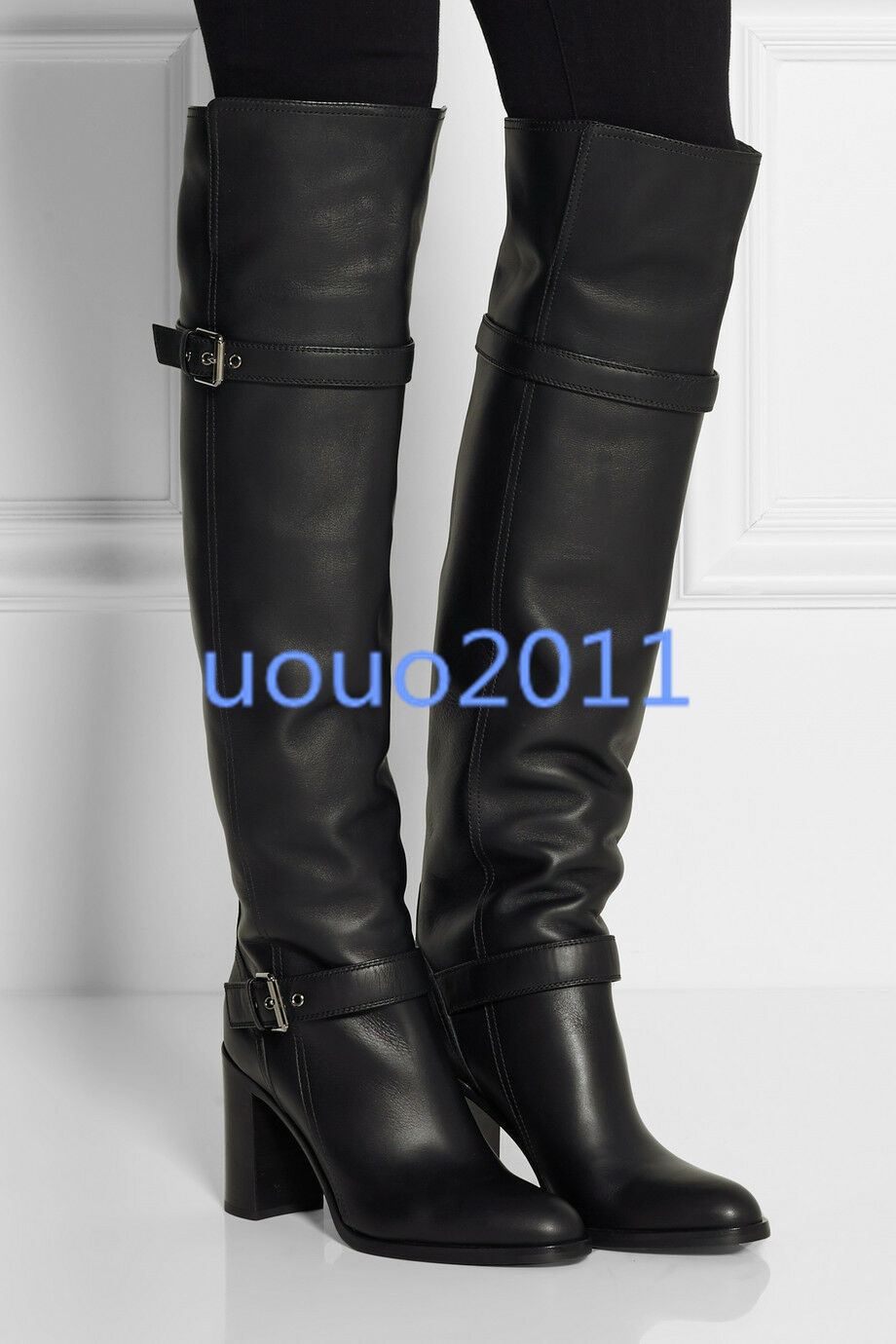 Size 4-10 Womens High Block Heel Pull on Leather Winter Over The Knee Boots New