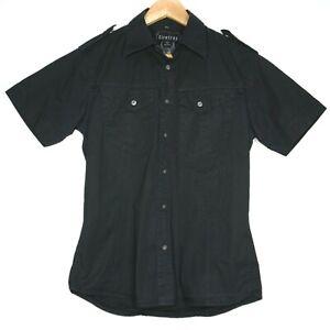 Firetrap-Sheldon-Short-Sleeve-Mens-Button-T-Shirt-Size-Medium-Black