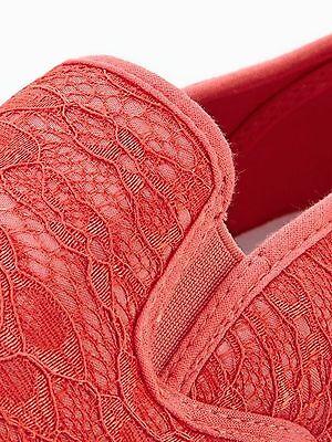V by muy puede Niñas UK 13 Coral Encaje Detalle Resbalón En Nueva Playera Zapatos De Salón