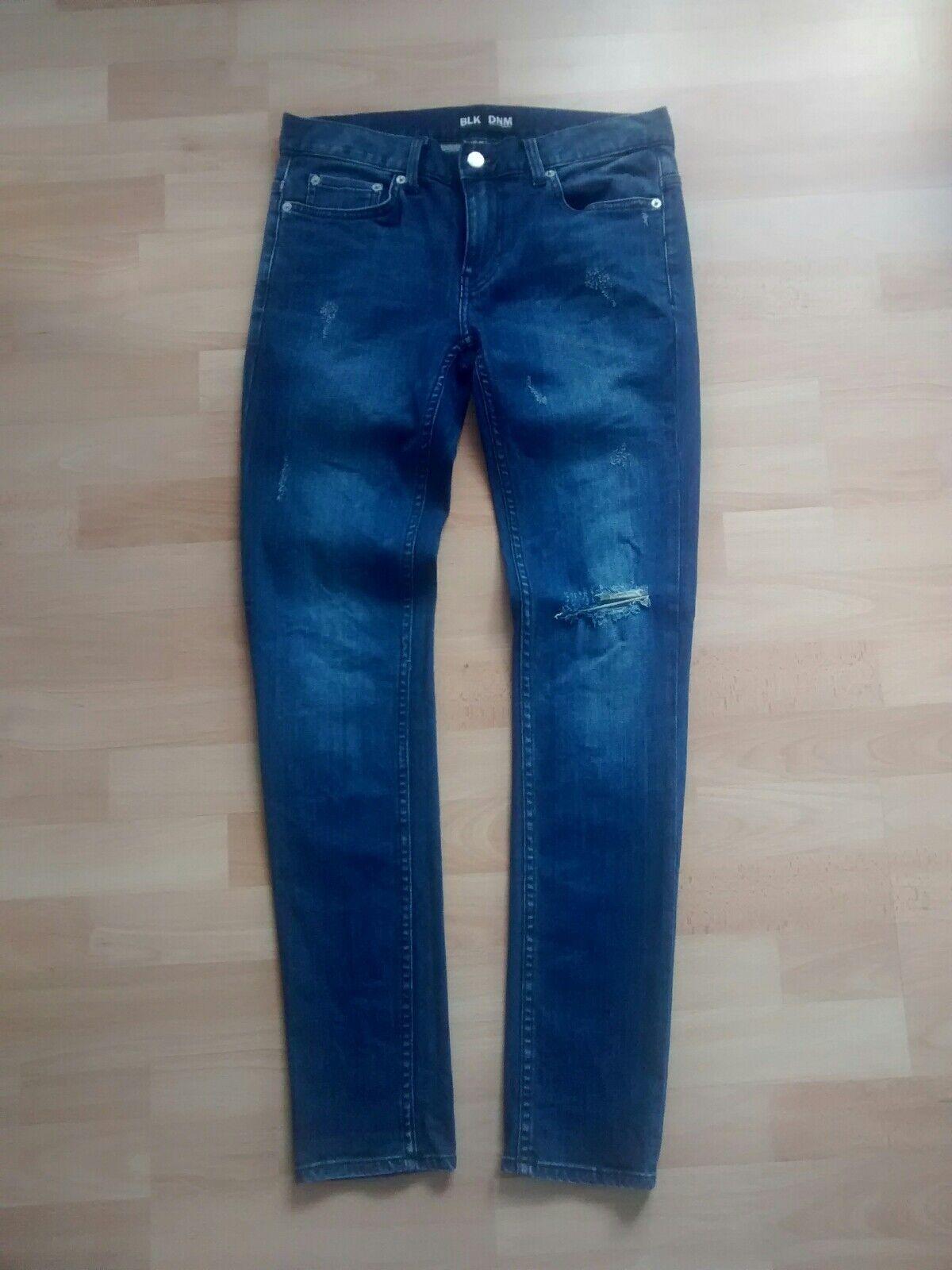 BLK DNM Skinny Jeans 25 Sz 30 32 blau frost Blau ripped wie neu