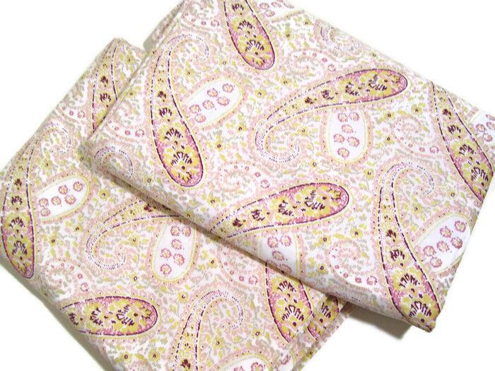 Lands End 280 TC Cotton Pink Ivory Paisley Cotton King Duvet Cover New