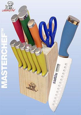 Masterchef 13pc Multicolor Santoku Knife Cutlery Set w/Block & Steak Knives NEW