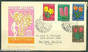 LUXEMBOURG-FLEURS-1955-Michel-531-34-First-Day-Cover