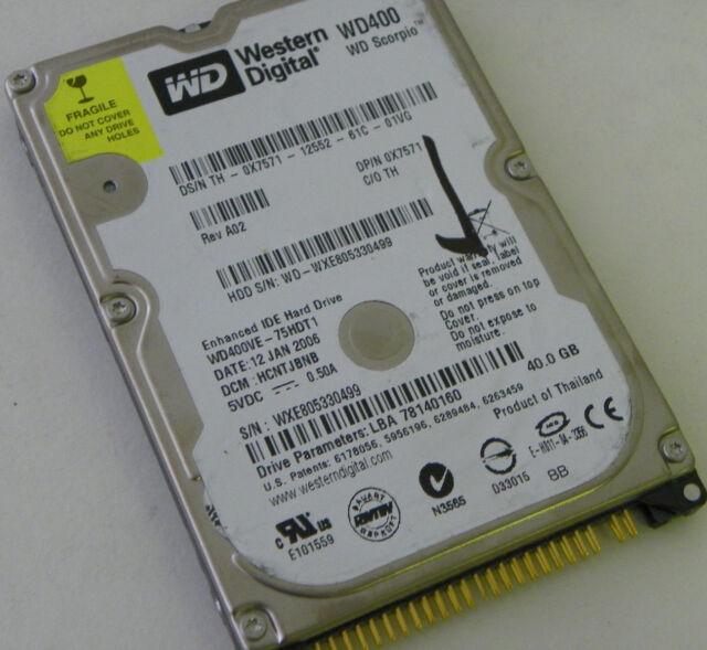 40GB Western Digital WD400VE-75HDT1 Laptop IDE Hard Drive DP/N 0X7571