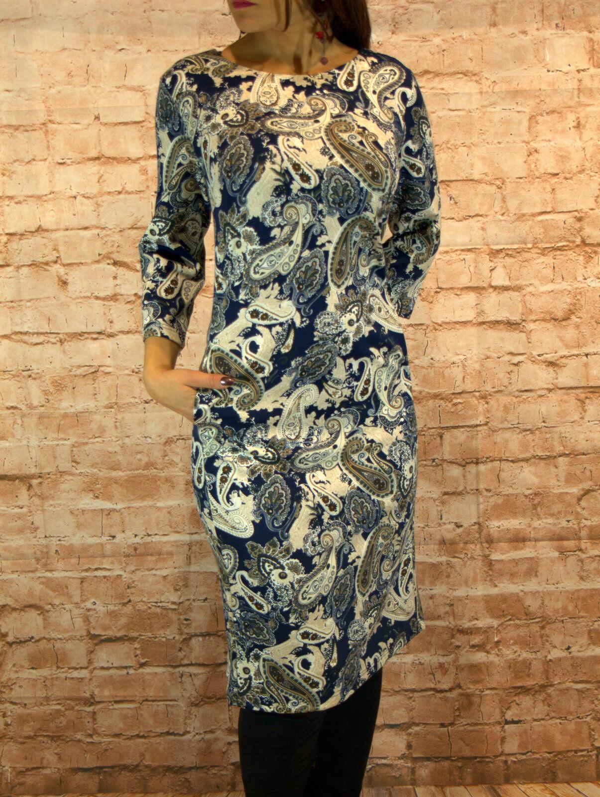 Abendkleid kurz Coctailkleid  Midikleid Kleid 3 4 Arm Gr.40-50 blau Paisley