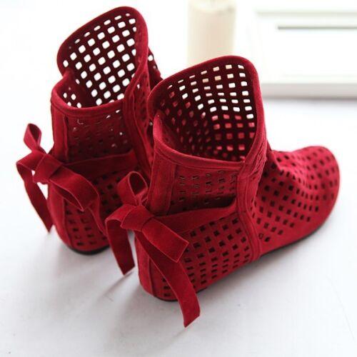 Chic Été Femme Bout Rond Respirant Bottines Plates Daim Hollow Out Shoes
