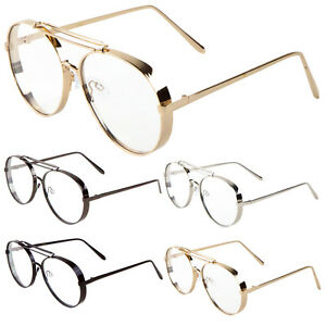 14104f15f1 Image is loading Large-Aviator-Clear-Lens-Thick-Frame-Gold-Black-