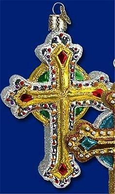 GOLD, RED, GREEN & WHITE JEWELED CROSS OLD WORLD CHRISTMAS GLASS ORNAMENT 36068