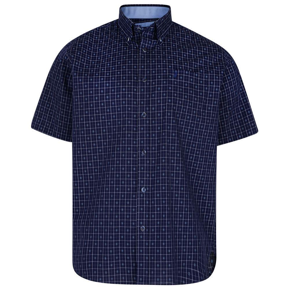 Kam Uomo Puro Cotone Ss Camicia a Quadri (6158) in Patriota Blu