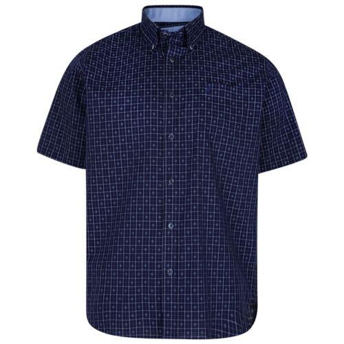 in Blu PATRIOT 6158 Kam Puro Cotone da Uomo Camicia check SS