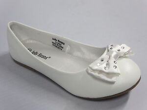Girls flats w bow titi youth flower girl white off white pearl image is loading girls flats w bow titi youth flower girl mightylinksfo
