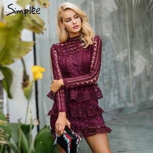 554bd97df582 Image is loading Simplee-Elegant-hollow-out-ruffle-lace-dress-Women-
