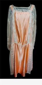 very rare unique french vintage 1920s peach silk satin