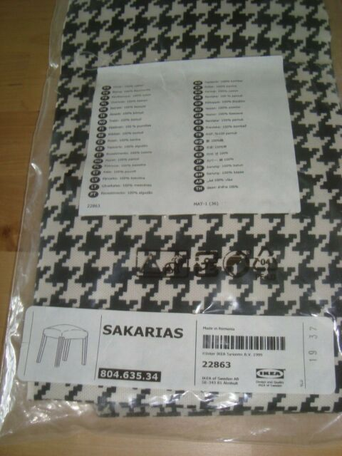 IKEA SAKARIAS COVER Vibberbo Black White Sakarias Stool Slipcover NEW 804.635.34