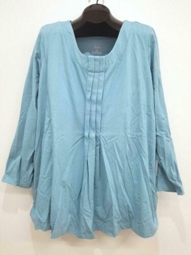 NEW Only Necessities Light Blue Pleated Built-in Bra Long Sleeve Tunic Top Sz 2X