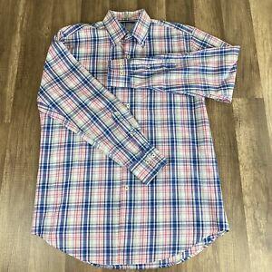 Peter-Millar-Mens-Shirt-Medium-Multi-Color-Pink-Blue-Plaid-Long-Sleeve-Button-up
