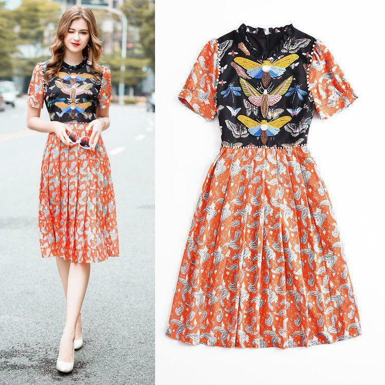 2019 Women Occident fashion butterfly short sleeve embroidery bead makings dress