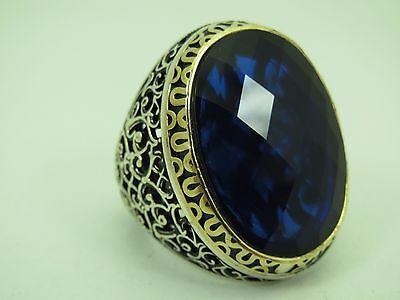 Turkish Handmade Jewelry 925 Sterling Silver Sapphire Stone Men/'s Ring Sz 10