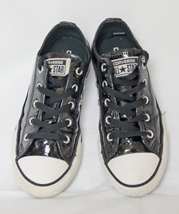 Converse All Star girl s black  wet look  sparkle coated fabric ... e6a7dad17