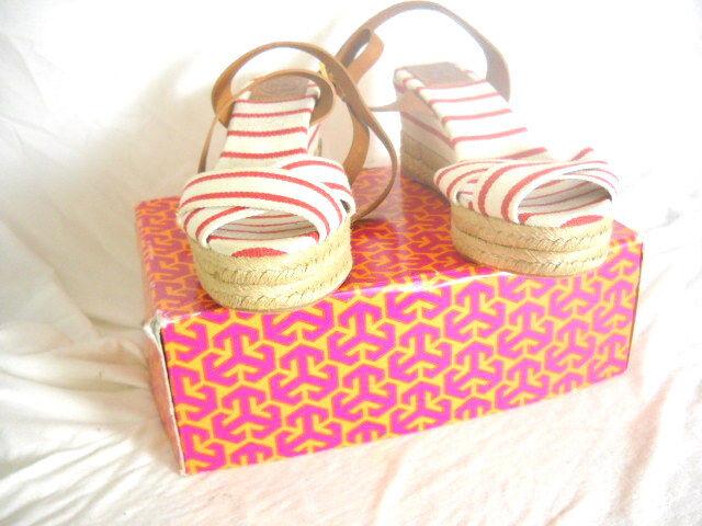 Tory Burch  KARISSA  Womens Wedge Sandals 10 Medium White Red Stripes NWB