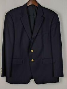 Lauren-Ralph-Lauren-42S-Suit-Blazer-Navy-Blue-Goldtone-Buttons-All-Season-Wool
