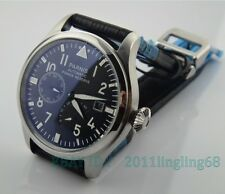Parnis 47mm big pilot black dial Power Reserve Indicator automatic Men's watch