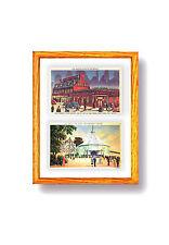 Postcard Display Frame & Mat For 2 Vintage / Antique 3-1/2 x 5-1/2 Cards: STAINS