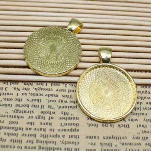 20 Pcs//Lot 25mm Round Pendant Tray Cameo Glass Cabochon Frame Blank Silver DIY