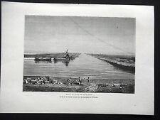 GRAVURE ANCIENNE 19e - BASSIN ET CANAL DE SAINT LOUIS